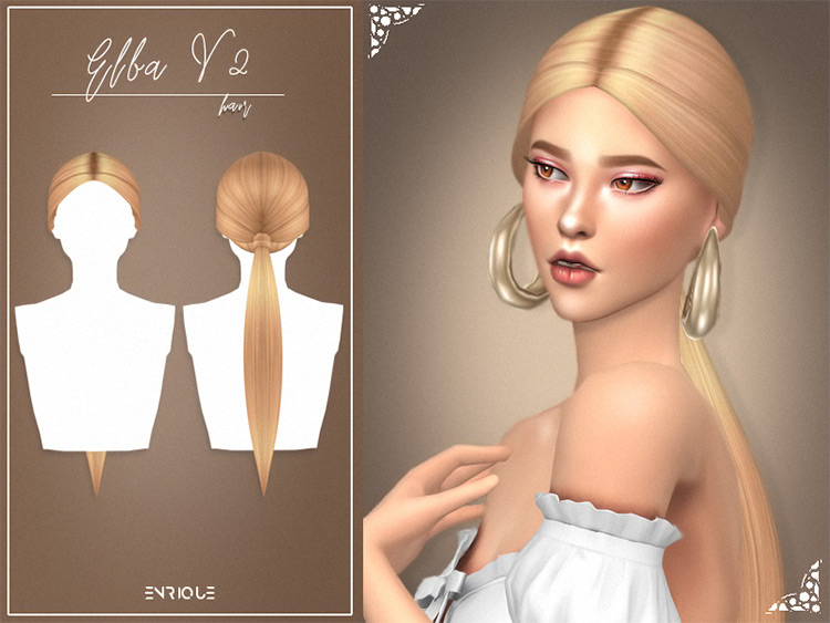 Elba Hairstyle Sims 4 blonde ponytail CC