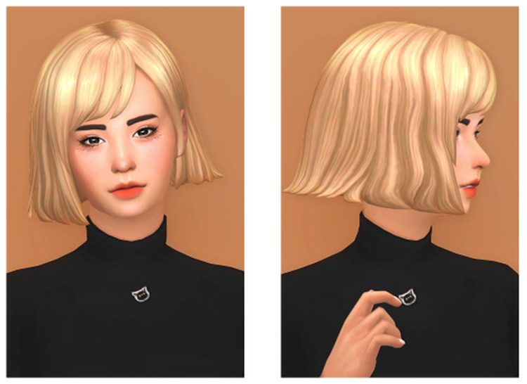 Niccole Hair - Short shoulder-length blonde hairdo, Sims4 CC