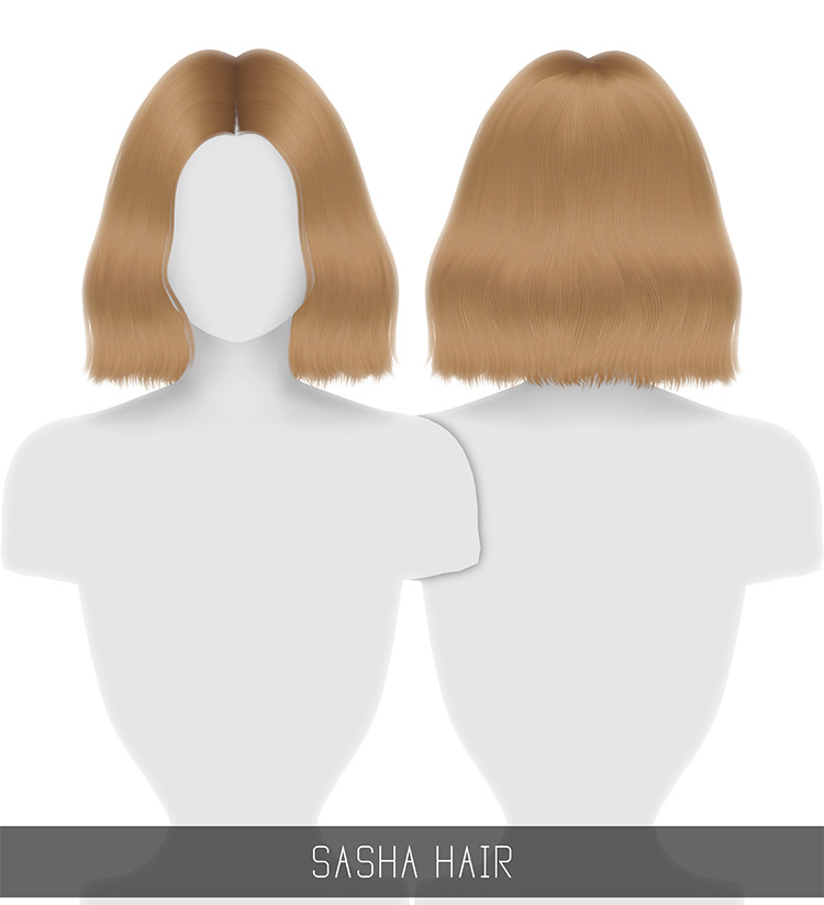 Sasha Hair mid-length blonde hairdo CC for The Sims 4