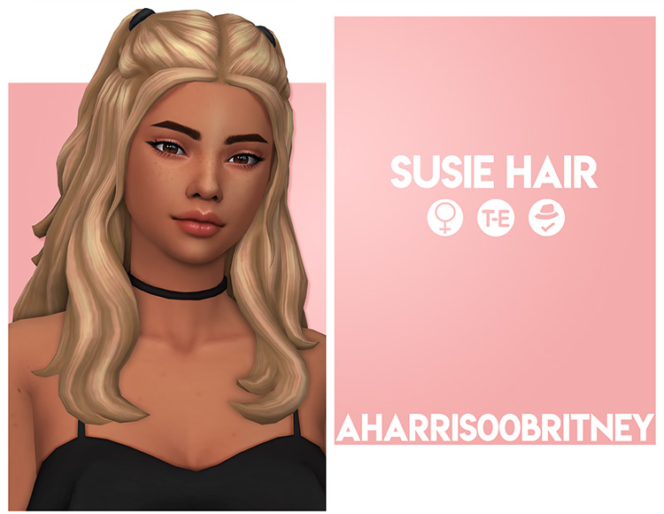 Susie Hair blonde cute Sims4 CC