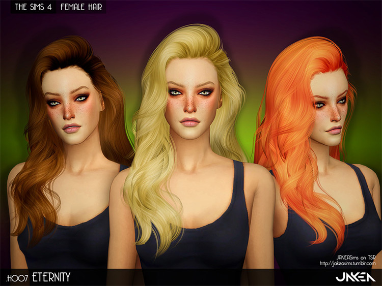 Eternity long bed head blonde sims4 CC