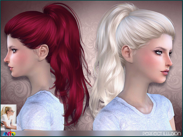 Perfect Illusion Sims4 - Bleach Blonde ponytail hair CC