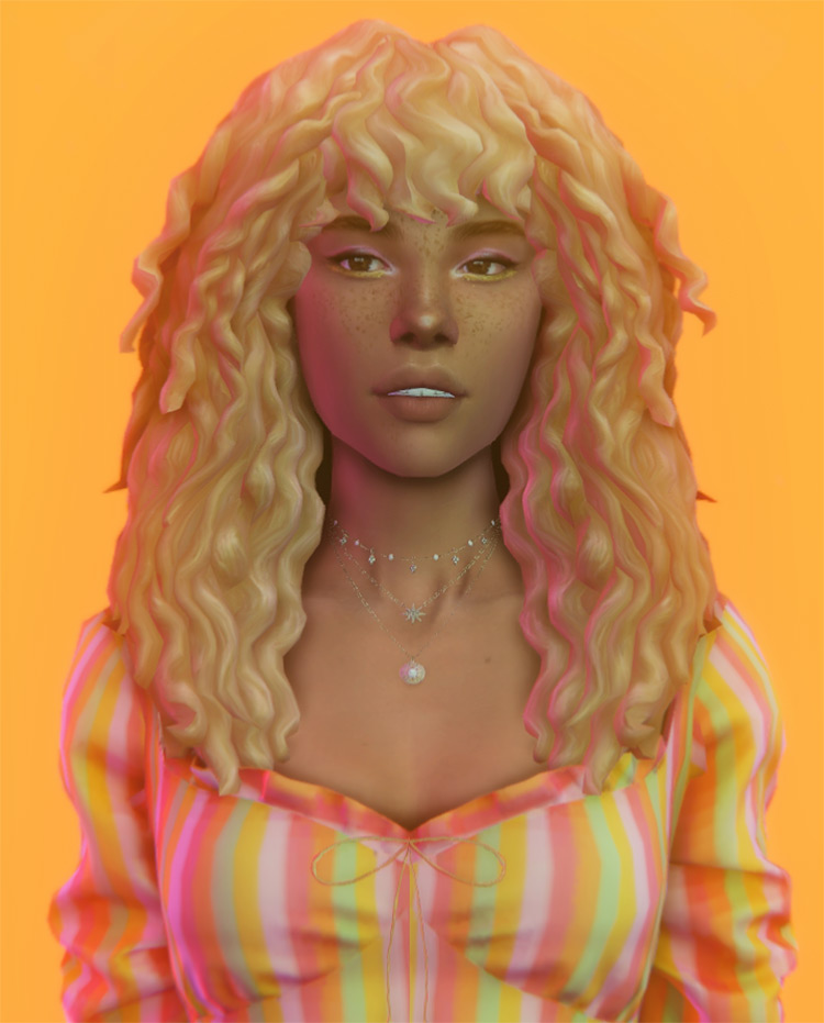 Rhiannon Hair curly blonde Sims4 CC