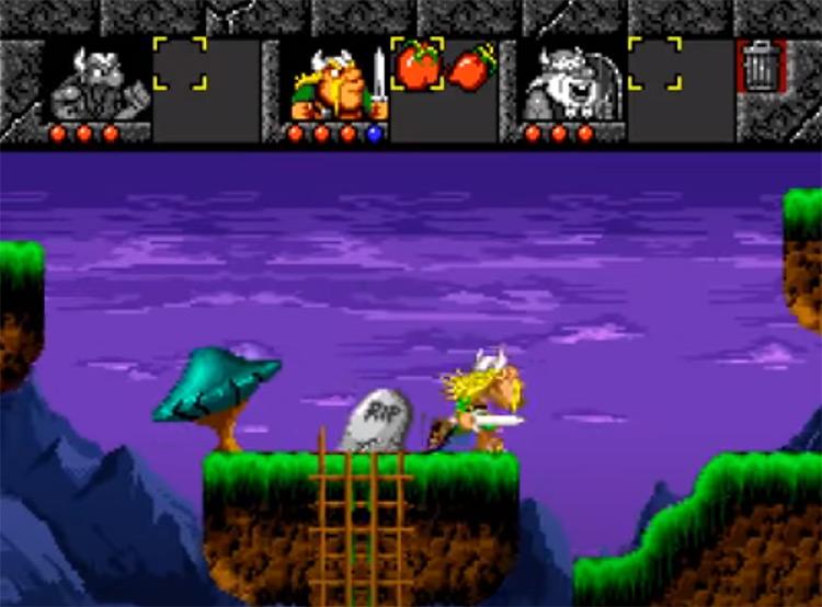 The Lost Vikings 1993 gameplay SNES