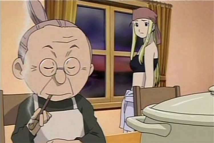 Pinako Rockbell grandma from FMA anime screenshot
