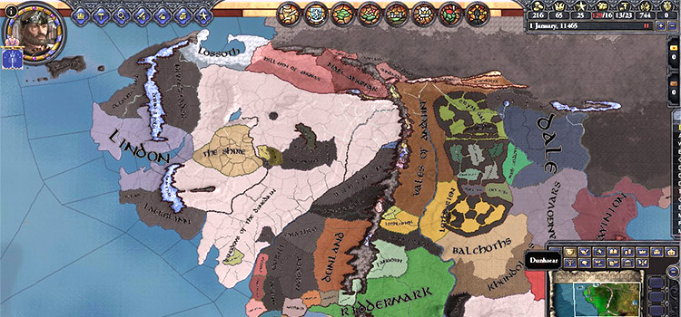 CK2 Middle Earth modded gameplay screenshot