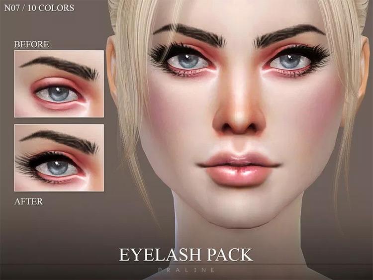 Sample screenshot - Sims 4 Eyelash pack N07
