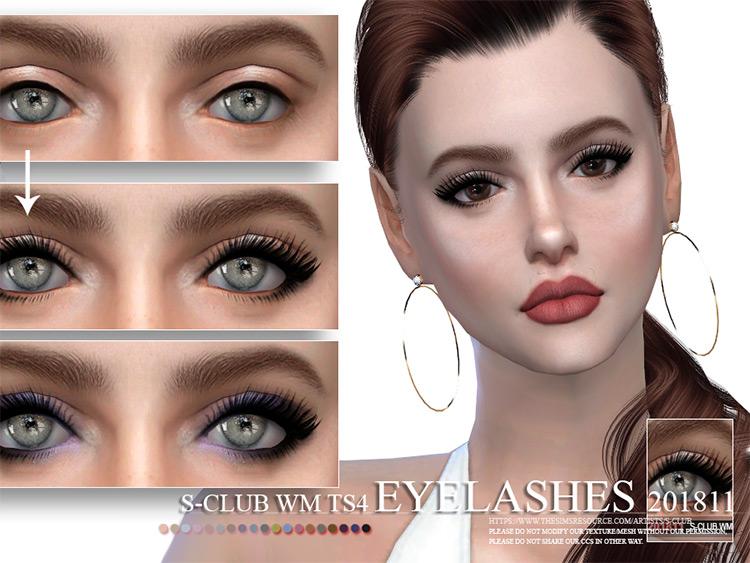 WM Eyelashes - long straight dark style lashes, TS4 CC