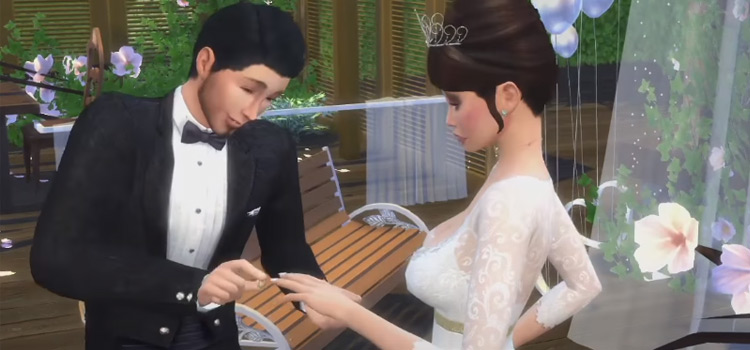Sims 4 groom proposing to bride on wedding screenshot