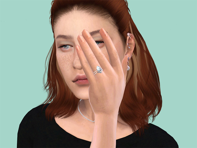 Pear cut wedding ring CC Sims4