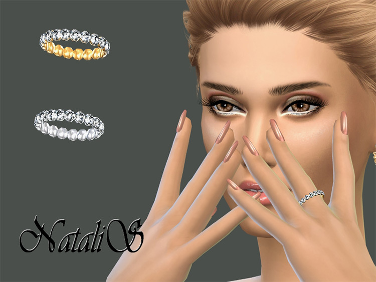 Crystal pave setting wedding ring Sims4 CC