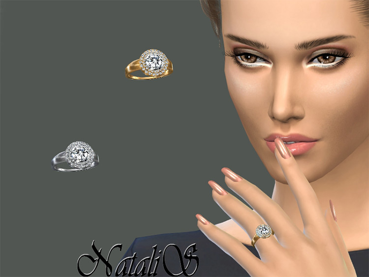TS4 CC - Double Halo Diamond wedding ring