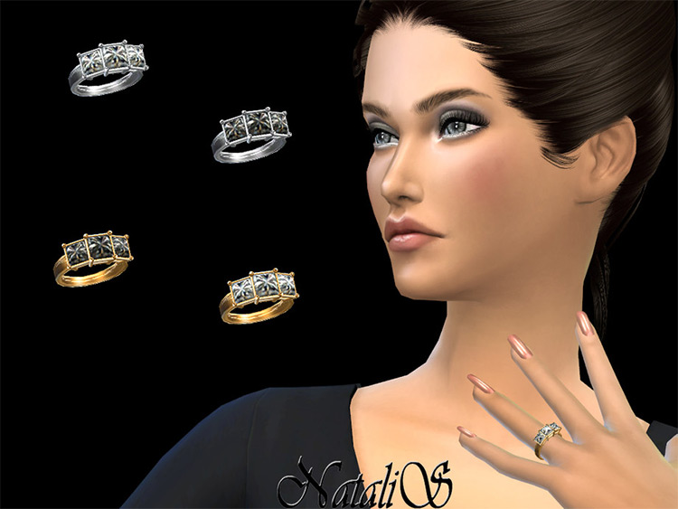 Three-stone princess cut Wedding Ring Sims4 CC