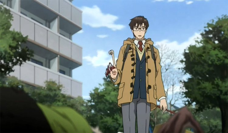 Shinichi Izumi in Parasyte ridiculous anime screenshot