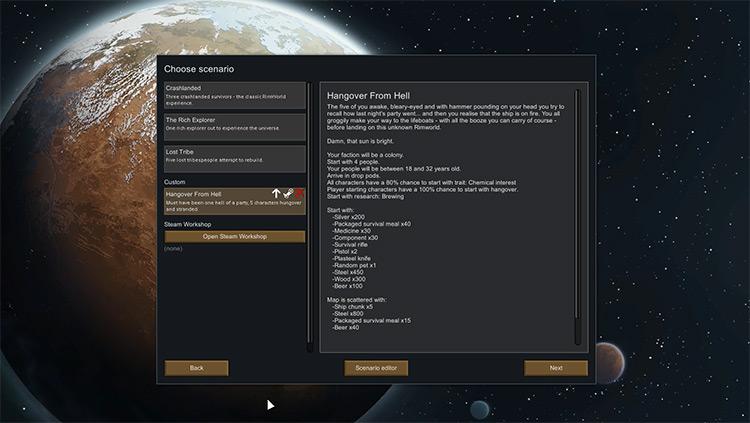Hangover From Hell Rimworld Mod menu screenshot