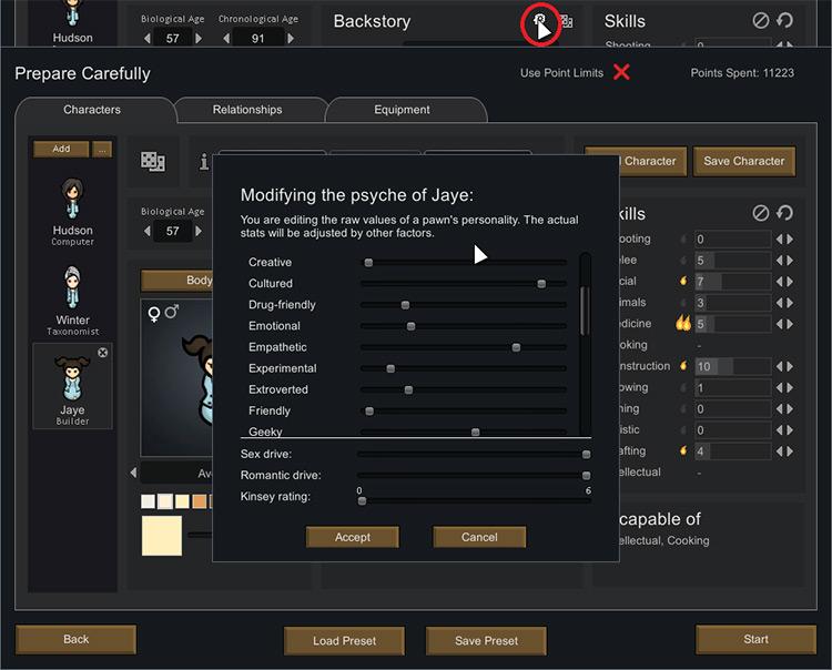 Psychology mod menu Rimworld