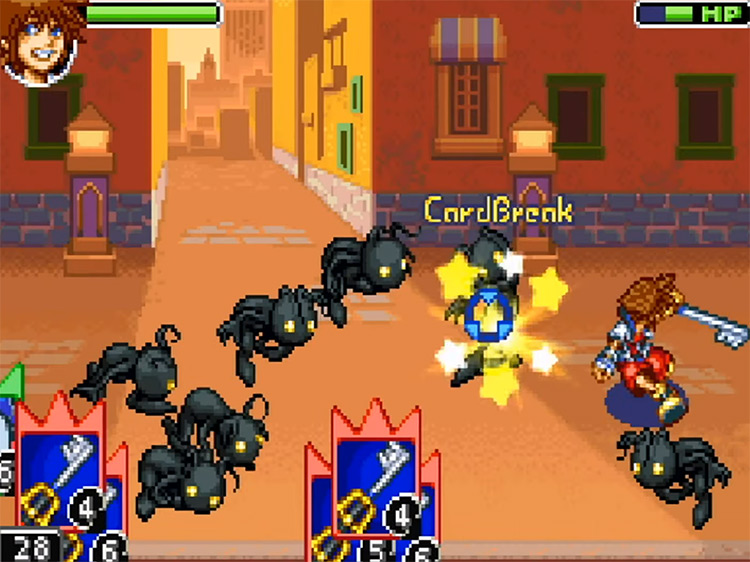 Kingdom Hearts: Chain of Memories (2004) GBA Gameplay Screenshot
