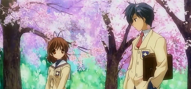 Clannad cherry blossoms scene - anime screenshot