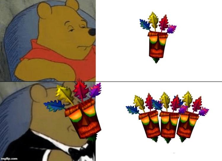 Winnie the Pooh wearing Aku Aku mask
