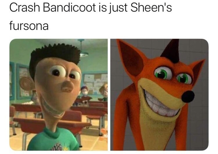 Crash Bandicoot and Sheen Jimmy Neutron crossover meme