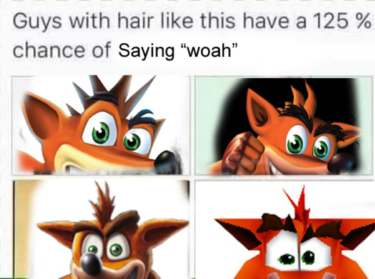 Guys with Crash Bandicoot hair always say woah meme