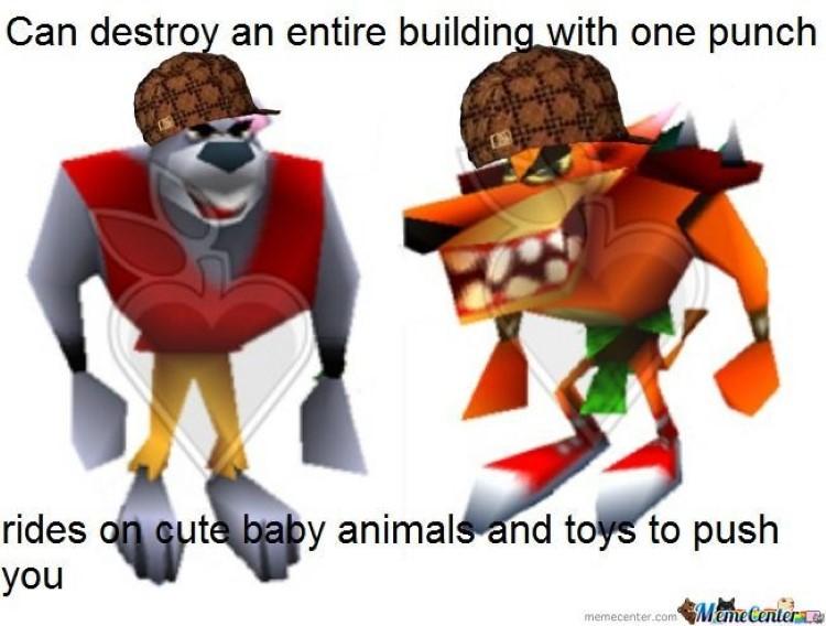 Destroys entire buildings, or rides on cute animals? Crash Bandicoot meme