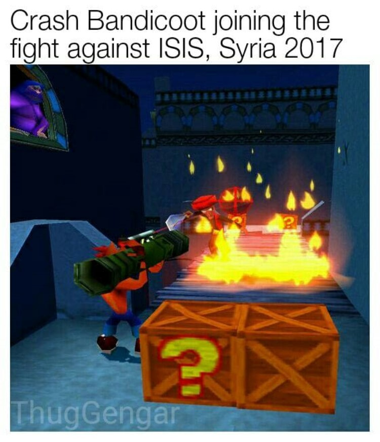 Crash Bandicoot fighting ISIS in Syria, joke meme