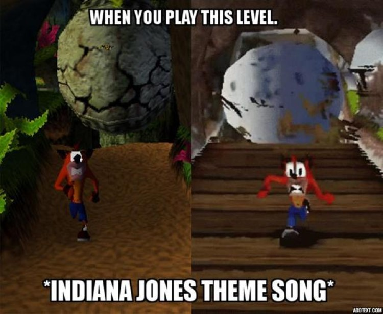 Crash Bandicoot running from boulder, Indiana Jones style
