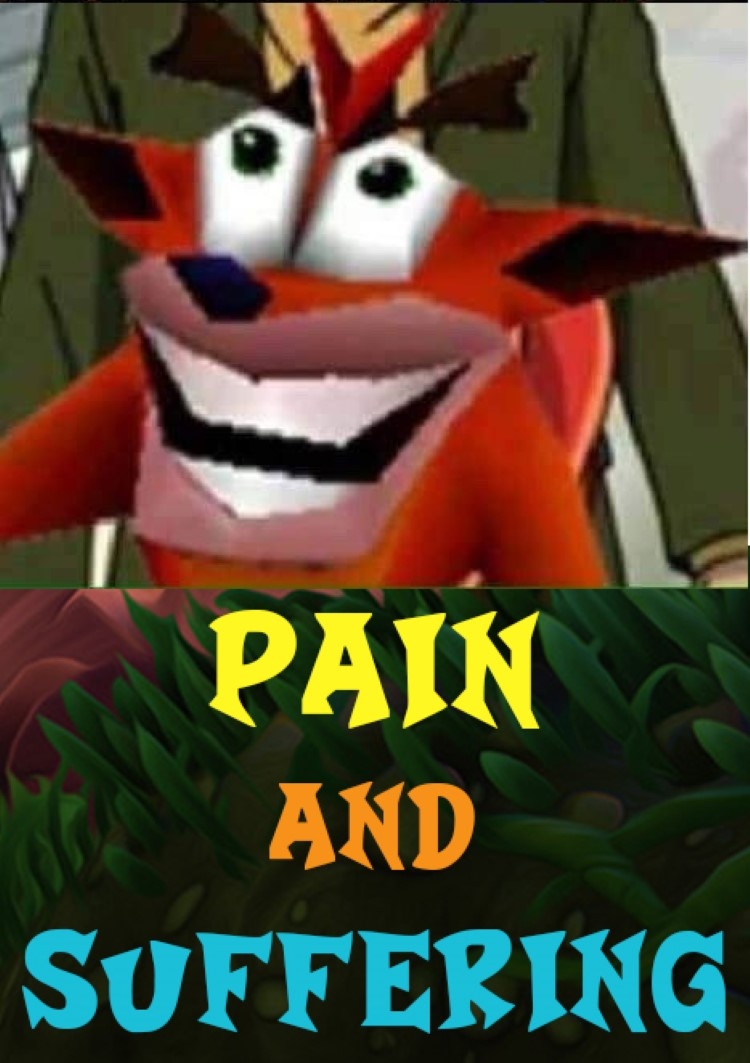 Crash smiling happy: pain and suffering meme