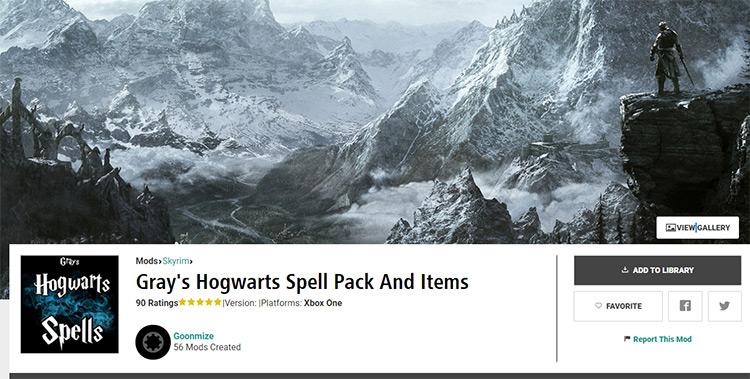 Grays Hogwarts Spell Pack Skyrim mod