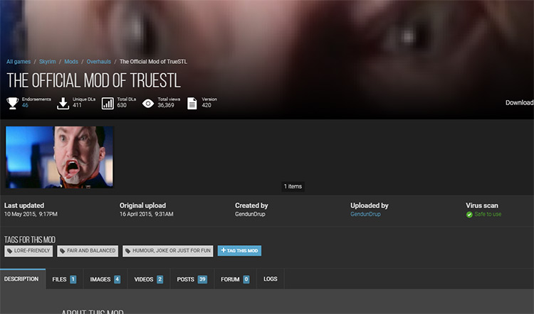 Official r/TrueSTL Mod for Skyrim