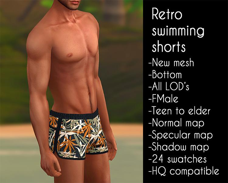 Retro Swimming Shorts - Sims 4 Male CC