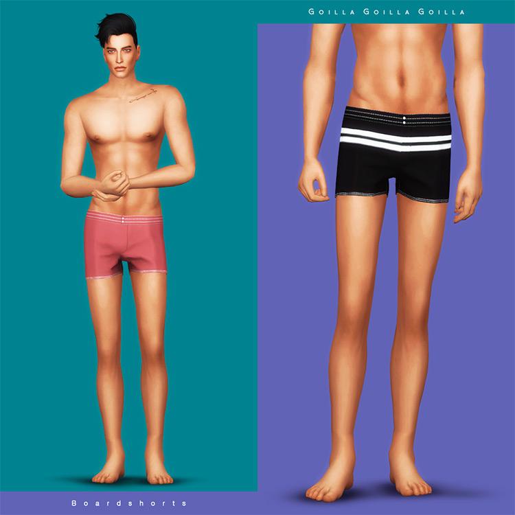 Gorilla X3's Board Shorts For Men - Sims 4 CC