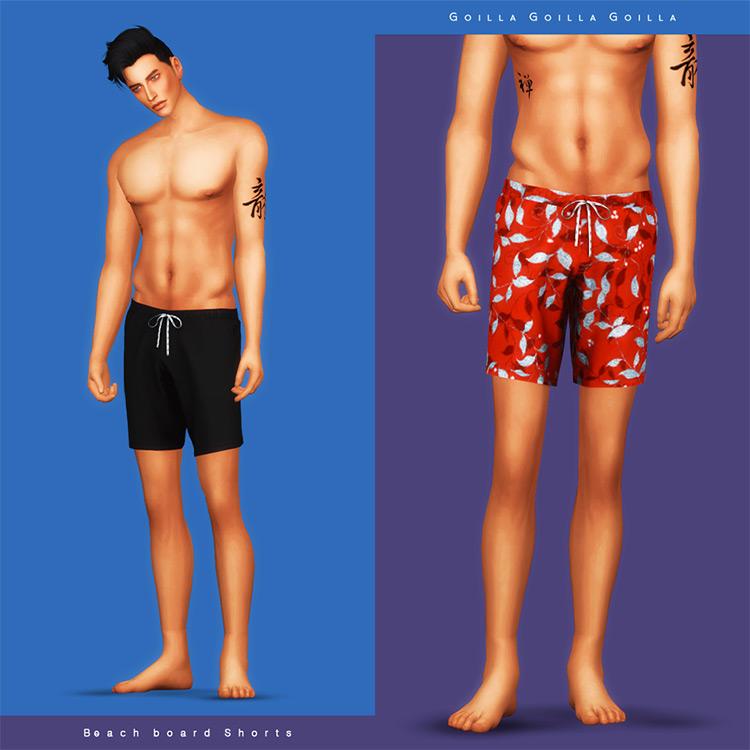 Beach Board Shorts - Sims 4 Guys Swimsuit CC
