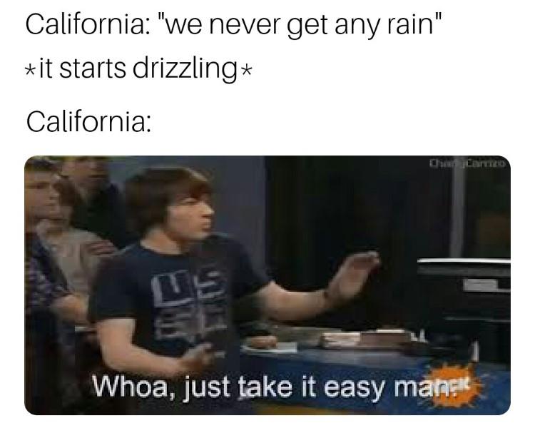 Rain in California? Drake meme: Whoa, just take it easy man