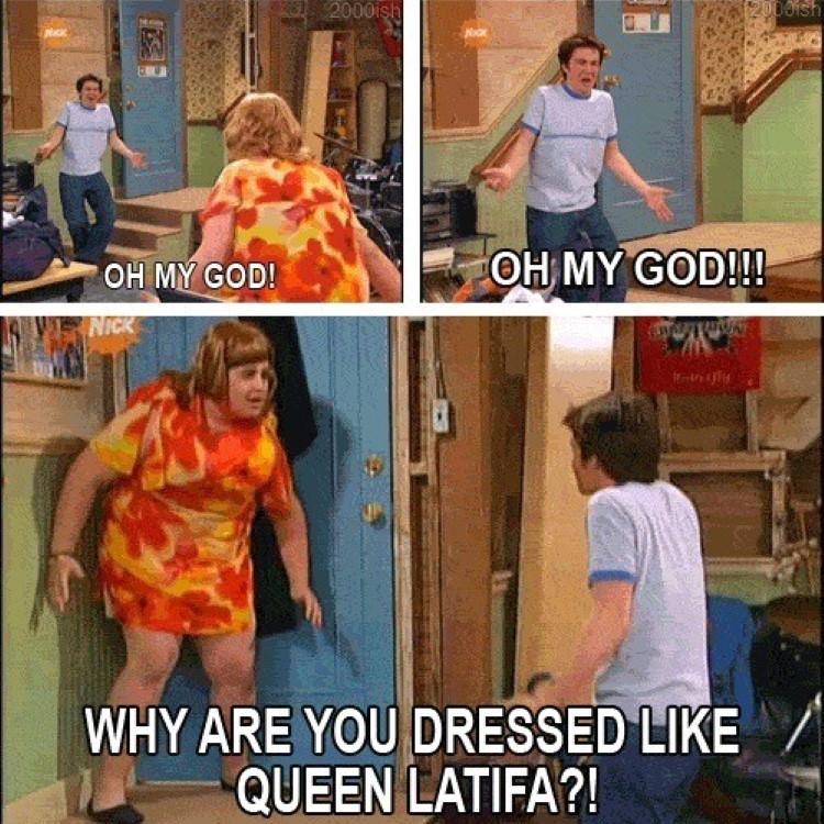 Drake & Josh crossdressing episode - Why are you dressed like Queen Latifa?