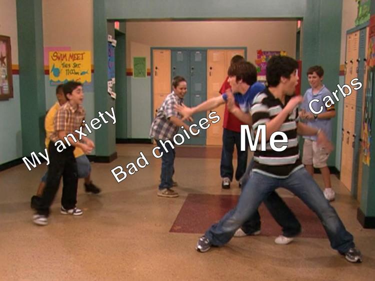 Me fighting off bad choices - Drake & Josh meme