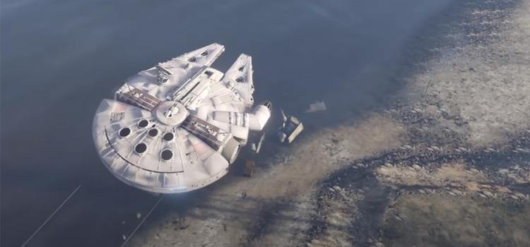 Star Wars Millennium Falcon flying around screenshot