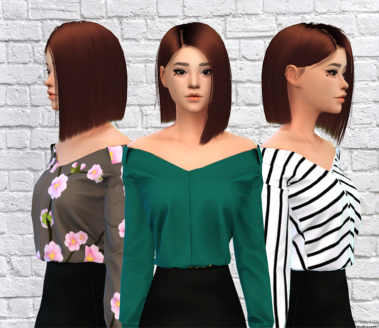Off The Shoulder Shirts - Recolored Sims 4 CC