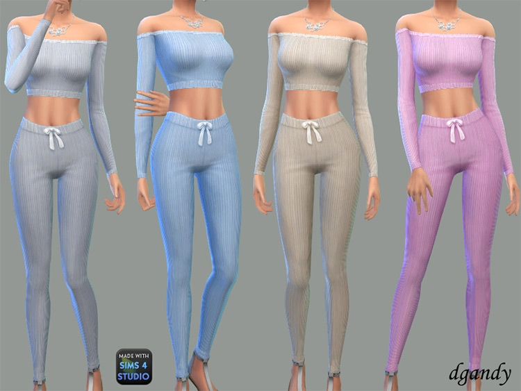 Ribbed Knit Lounge Pajamas CC - Off-The-Shoulder TS4 Clothes