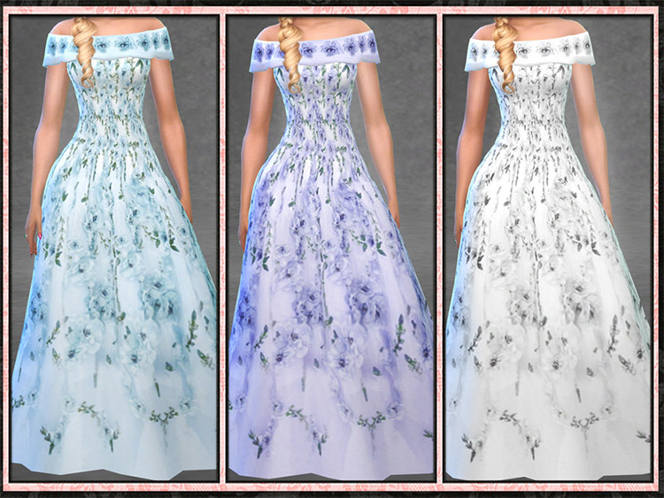 Floral Bridal Gown Off The Shoulder TS4 CC