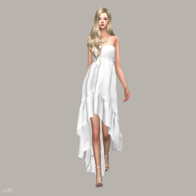 Goddess Dress - Off-The-Shoulder design Sims 4 CC