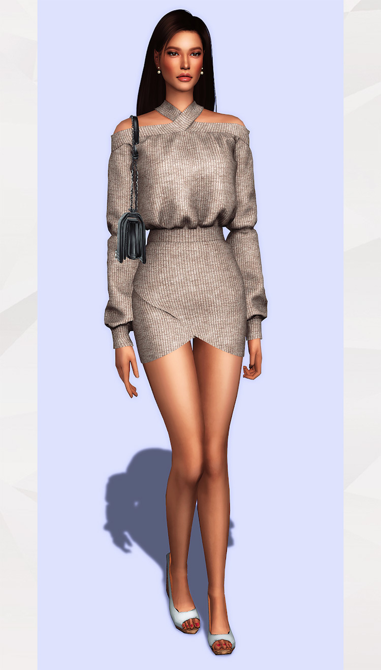 X-Neckline Dress CC for Sims 4
