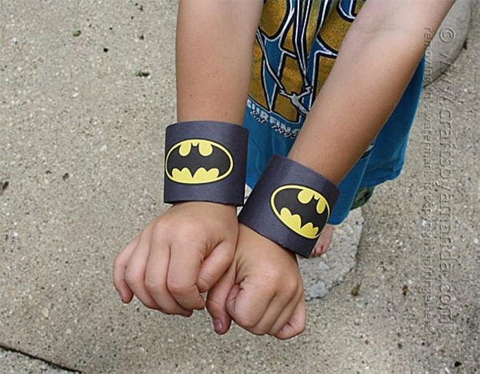 Cardboard batman wrist cuffs
