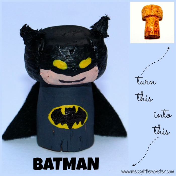 Batman cork diy craft