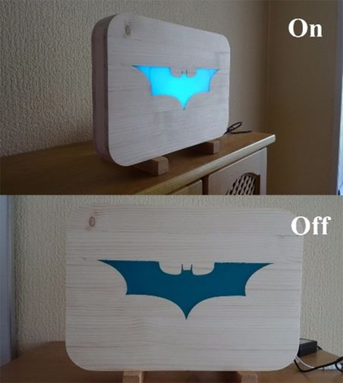 Batman glowing bat logo