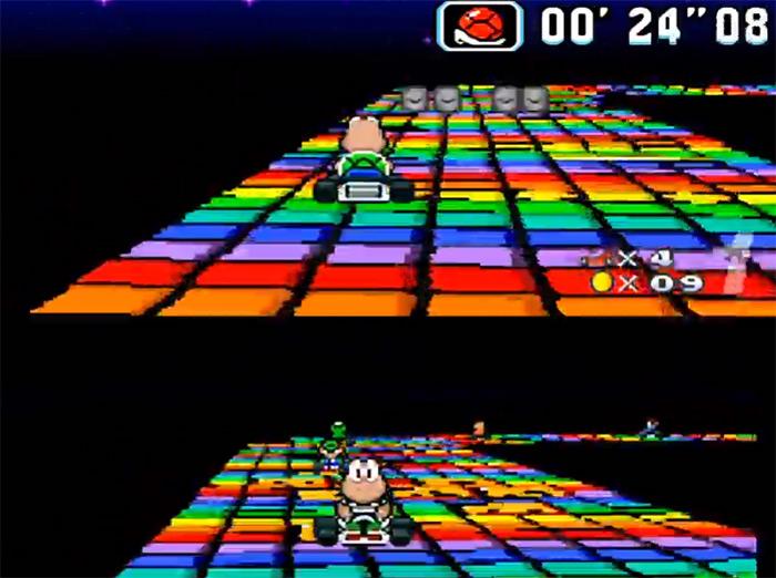 Super Mario Kart Rainbow Road screenshot
