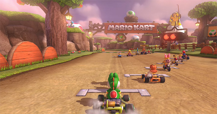 Yoshi Valley screenshot from Mario Kart