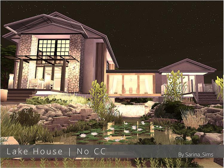 Lake House Mansion Lot / Sims 4