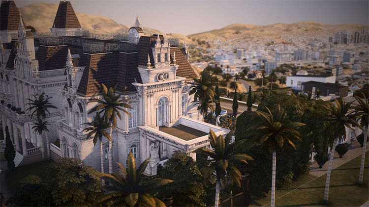 Royal Palm Mansion Lot for Sims 4